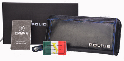 POLICE 長財布 COLORS ファスナー付 ブラック【PA-58402-10】