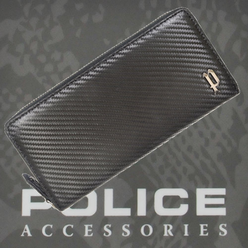 POLICE 長財布 LUCENTE ファスナー ブラック【PA-70203-10】