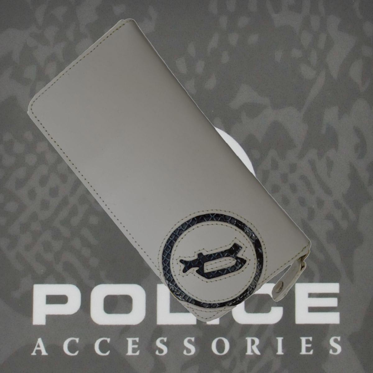 財布 メンズ ポリス ファスナー EVEN ホワイト【PA-55508-40】