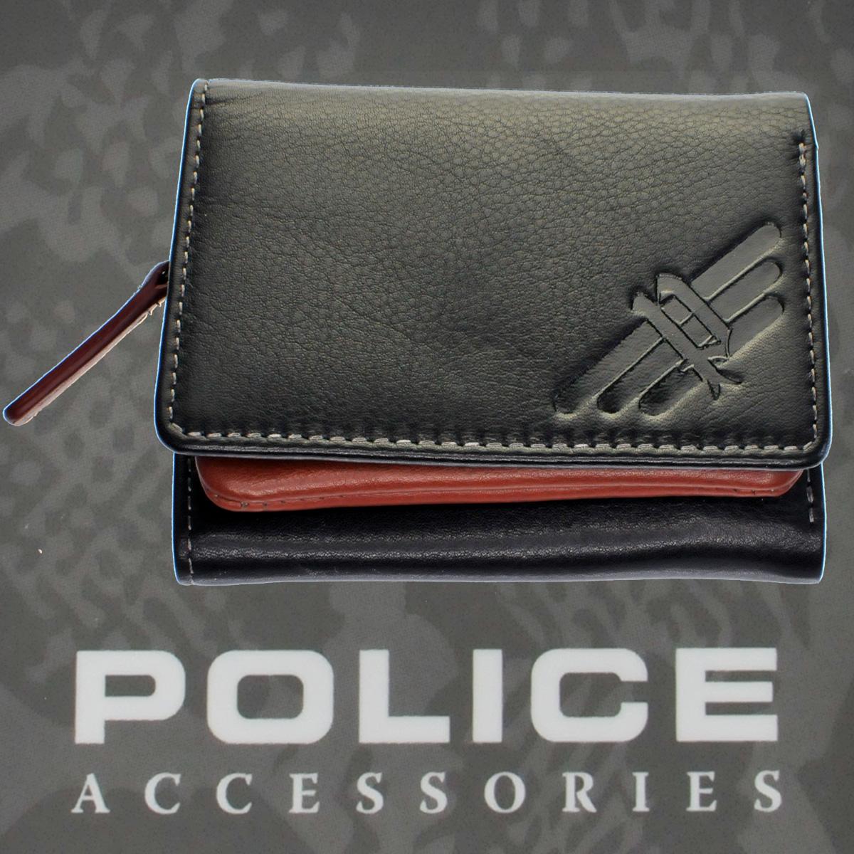 POLICE(ポリス)AXELⅢ 三つ折り財布 ブラック【PA-56704-10】