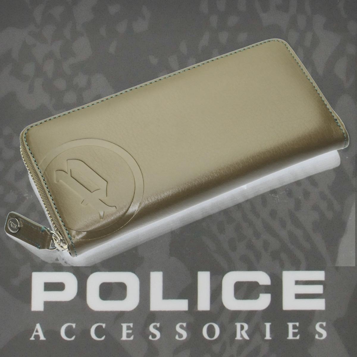 財布 メンズ POLICE BASICⅡ 長財布 ファスナー付き カーキー【PA-55604-35】