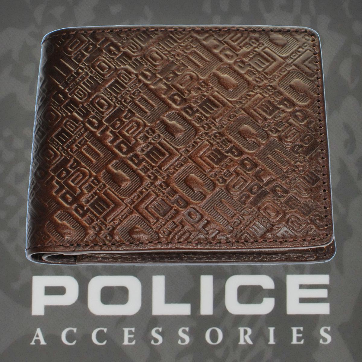 POLICE(ポリス)モノグラム MONOGRAMⅡ 二つ折り財布 ダークブラウン【PA-56501-29】