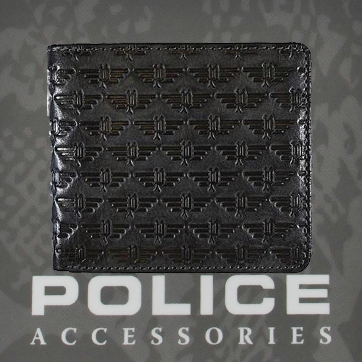 POLICE メンズ 二つ折り財布 WING  ブラック【PA-58800-10】