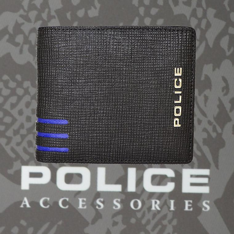 財布 メンズ ポリス 二つ折り LINEA ブラック【PA-59501-10】