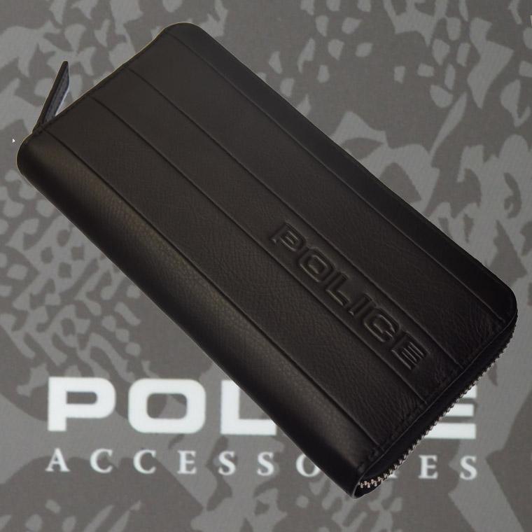 POLICE 長財布 BICOLORE ファスナー ブラック【PA-59903-10】