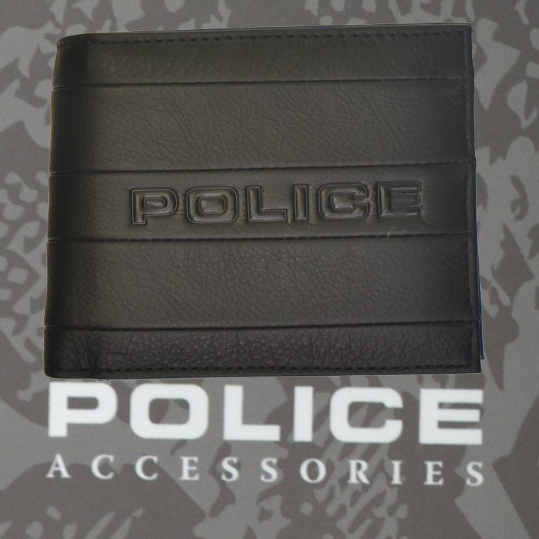 財布 メンズ ポリス 二つ折り BICOLORE   ブラック【PA-59901-10】