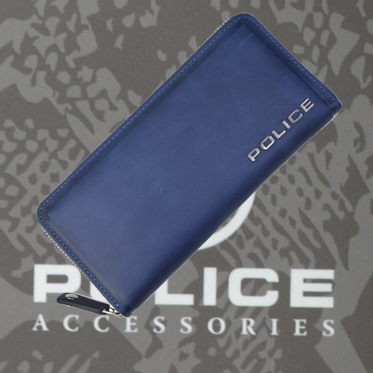 POLICE 長財布 EDGE ファスナー付 ネイビー【PA-58002-50】