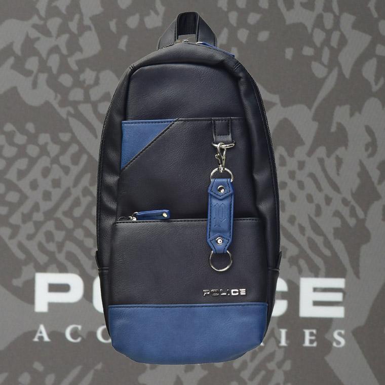 POLICE(ポリス) ボディバッグ タテ URBANO ブラック/ブルー【PA-62000-10】
