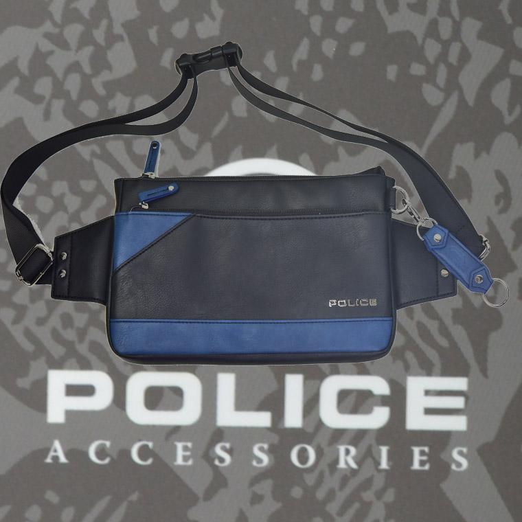 POLICE(ポリス) バッグ URBANO ブラック/ブルー【PA-62001-10】