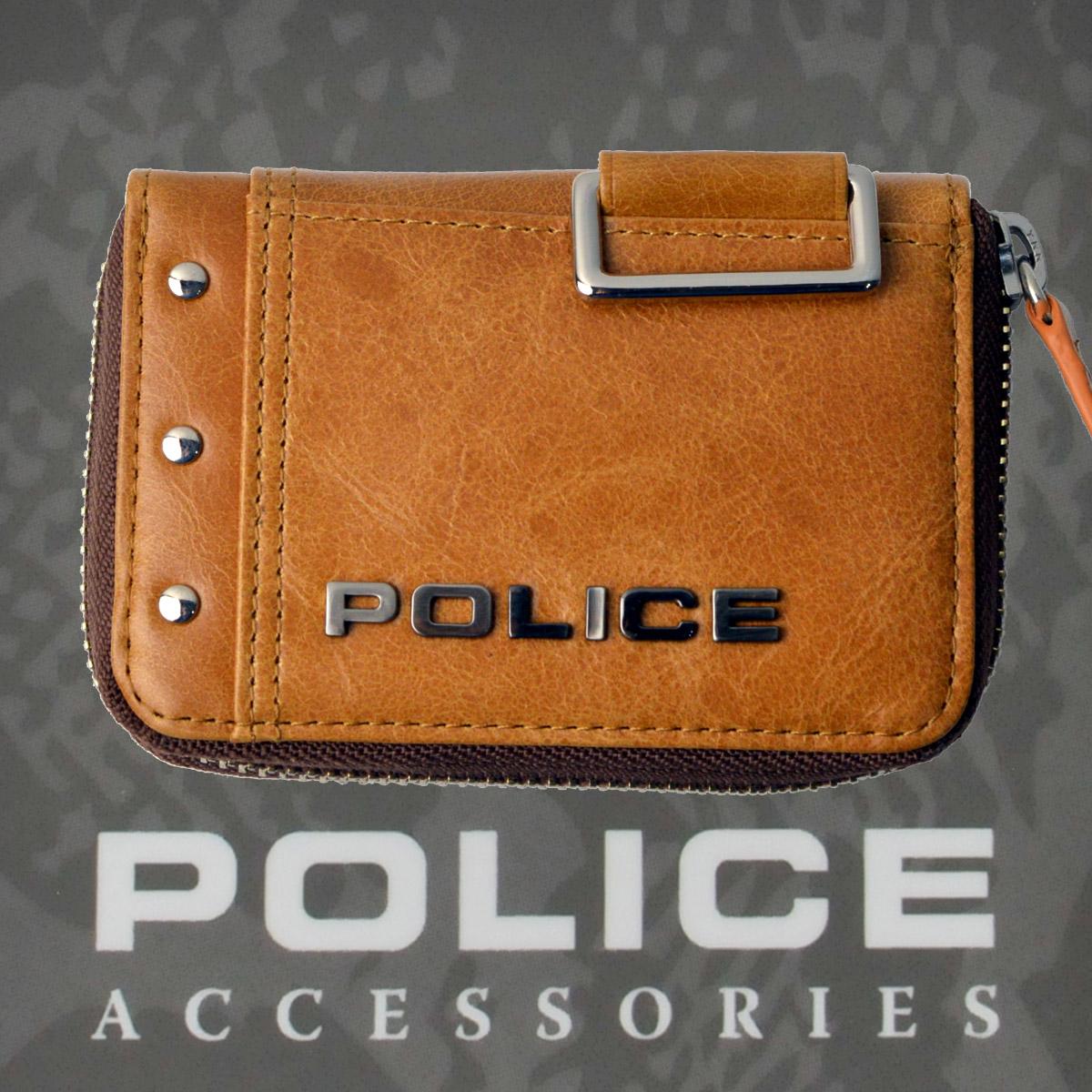 POLICE メンズ コインケース Avoid Ⅱ  キャメル【PA-58600-25】