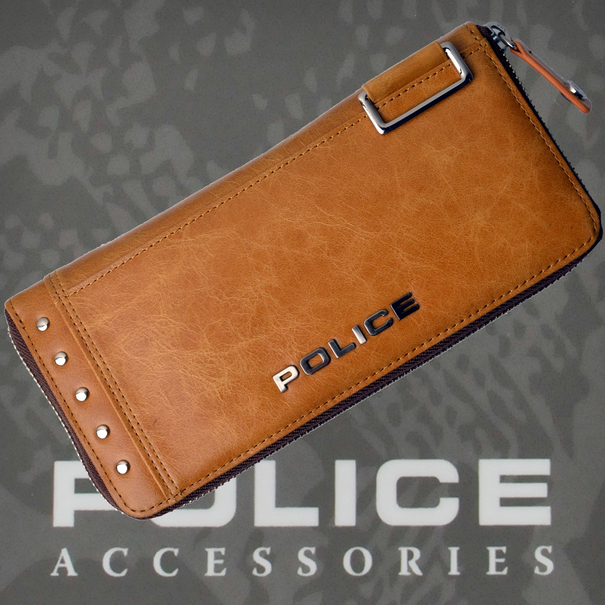 POLICE 長財布 Avoid Ⅱ ファスナー付 キャメル【PA-58602-25】