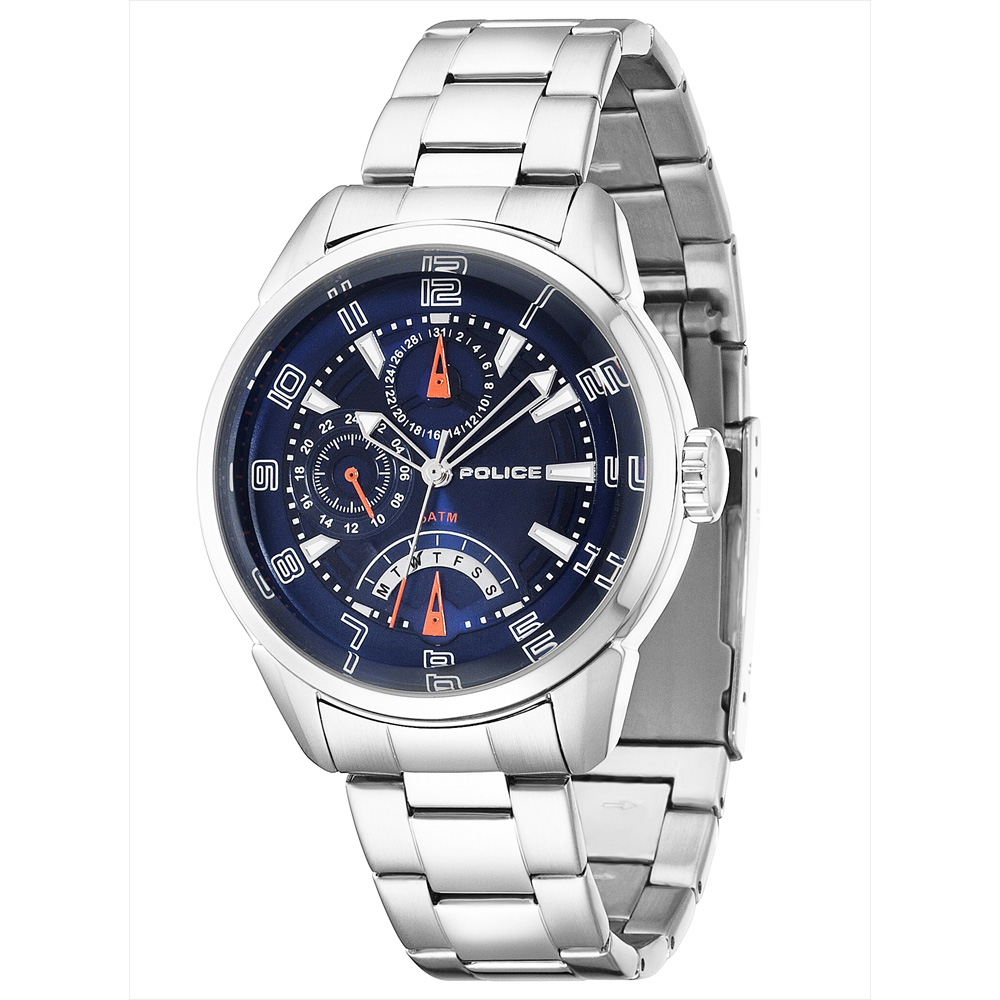 【限定モデル】POLICE(ポリス)腕時計 FLASHブルー/オレンジ【14407JS-03MA】
